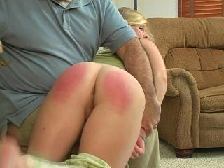 Grounded girl spanked