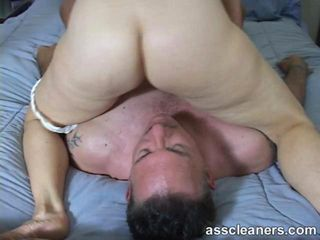 Mistress sits on mans face to get her ass hole eaten and cleaned while she also sucks the mans dick for pleasure