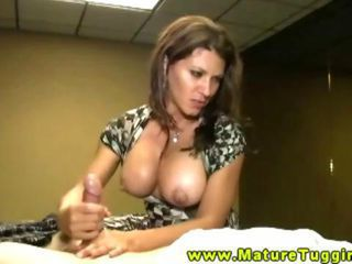 Milf handjob for her eager studs hard dick on her bed HD