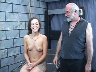 Hard spanking for sexy young brunette perky tit girl from older bdsm master Len
