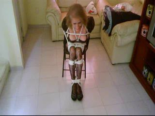 Coral bitch tied in a chair, Part 4