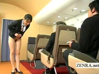 Subtitled bottomless Japan fight attendant bends over