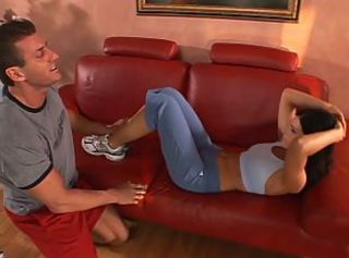B-cup brunette MILF kneels to suck muscular dude& 039;s long curvy cock then fucks _: blowjobs facials milfs brunettes tits