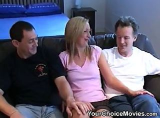 Amateur Cute MILF Threesome Wife