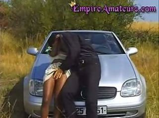 Retro Black Teen gets Fucked In The Country On A Benz
