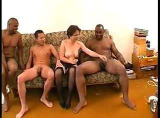 FRENCH MATURE n17mom in interracial foursome