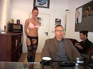 German MILF Office Secretary Stockings Threesome
