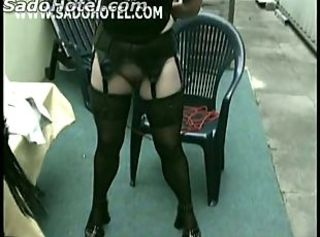 Master unties horny older slave from chair and hit her on her ass a...