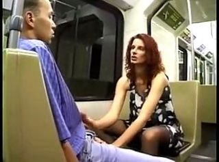 German Handjob MILF Public Stockings