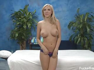 Adorably Sexy Blonde Britney B With Perfect Big Boobs And Lovely Ass Strips Down To Her Bare Skin. She Is Ready For Full Body Massage! Lucky Masseur Explores Her Hot Body!