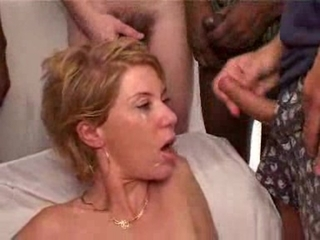 Horny French Milf In Bukkake Gangbang Action