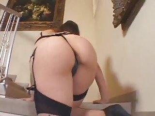 Brunette In Stockings Has Ass Fucked Hard