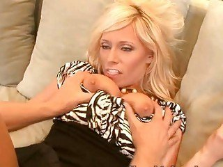 Classy blonde wife swallows her lover's huge meat rod