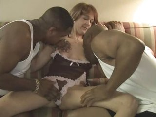 Amateur Interracial Lingerie MILF Threesome Wife