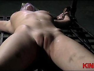 Blonde in bondage with bound tits