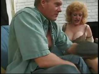 Anal loving redhead mature sexing up bald lover on couch