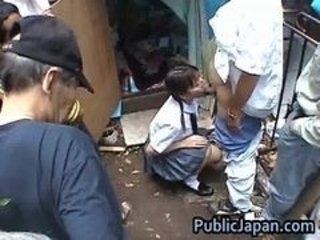Asian Blowjob Clothed Gangbang Japanese Outdoor Teen