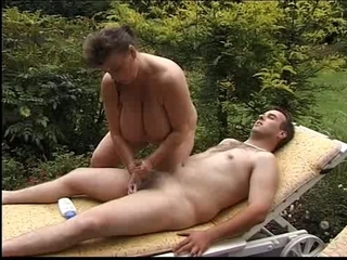 BBW Big Tits Handjob Mature Natural Outdoor