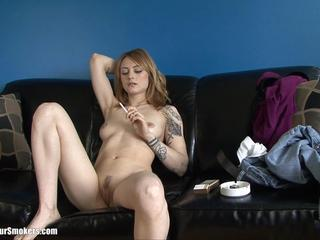 Boobalicious Young Teen Sexy Smoking Show Her Pussy on a Black Couch