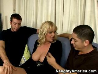 Busty British blonde mom catches Alex staring at her boobs