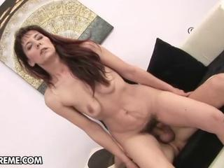 Mature brunette gets toyed with vibrator and get hard fucked.