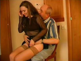 This young babe loves having her pussy violated by old, balding men
