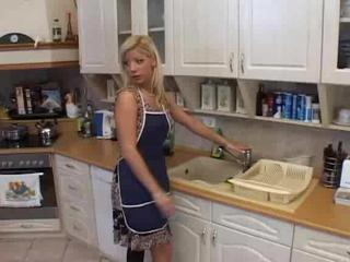 Babe Blonde Kitchen Wife