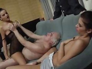 Two ladies let chubby old guy have them tubes
