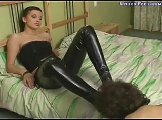 He wants to worship with mistress in leather pants