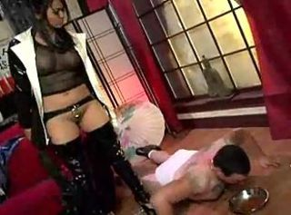 Crazy whore in latex boots dominates guy before her holes hard scre...