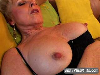 Naughty blonde granny showing wet pussy