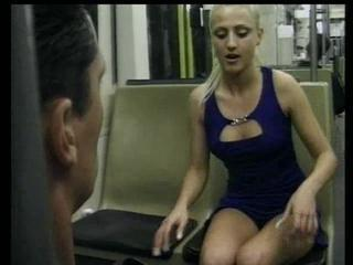 Horny blonde analed in public place