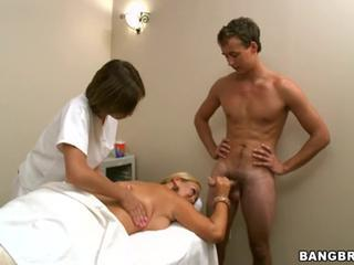 Abby Brooks have a massage in front of erected cock