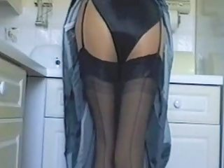 "Kitchen In Black Satin Lingerie"" target=""_blank"
