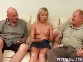 Blonde Old and Young Panty Skirt Threesome