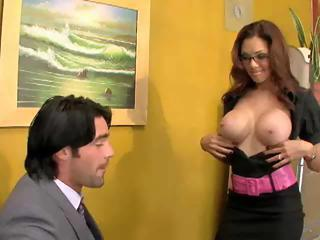 Brunette MILF Office Secretary Silicone Tits