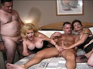 Granny gals' group sex action
