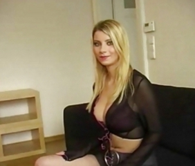 Blonde with big natural tits in porno casting