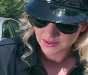 Pretty female cop in uniform and latex fucking a guy