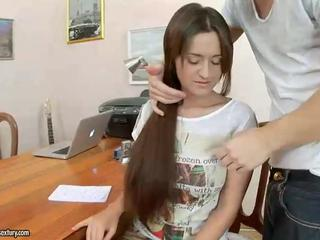 Long hair Office Skinny Teen