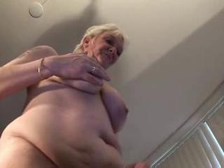 Tattoo Granny in Stockings Fingers and Sucks
