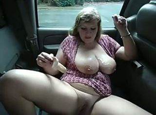 Big Tits Car Chubby MILF Toy