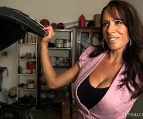 Layla rider pays mechanic nearby bulky a-hole