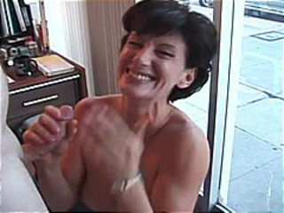 Amateur sex movie with a horny brunette milf and she suck two dicks