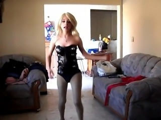 Blonde Latex Pantyhose Teen