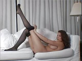 Natural Babe In Pantyhose Teases Softcore