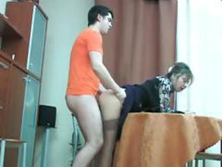 Clothed Doggystyle Mature Mom Old and Young Russian Stockings