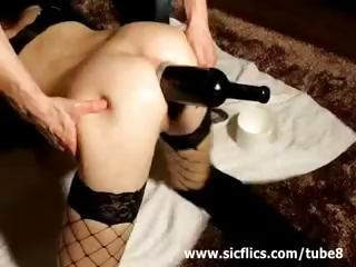Extreme anal wine bottle fuck...