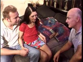 Sweet Brunette Licked And Fucked By A Dirty Grandpa Orgy At Home