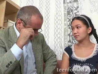 Asian Interracial Old and Young Teacher Teen